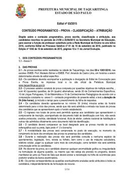 PREFEITURA MUNICIPAL DE TAQUARITINGA ESTADO DE SÃO