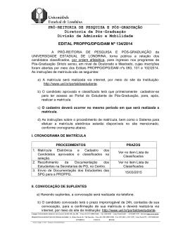 PRÓ-REITORIA DE PESQUISA E PÓS-GRADUAÇÃO Diretoria