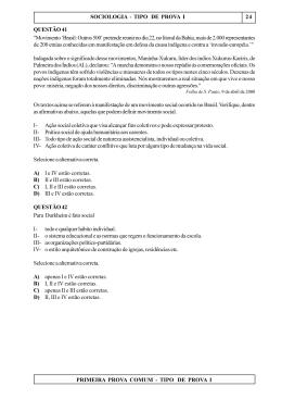 PRIMEIRA PROVA COMUM - TIPO DE PROVA I SOCIOLOGIA
