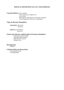 DOENÇAS MONOGÊNICAS E SUA TRANSMISSÃO