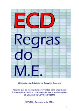 Resumo do novo ECD imposto pelo ME