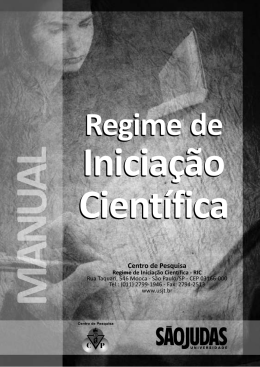 Manual do Regime de Iniciação Científica