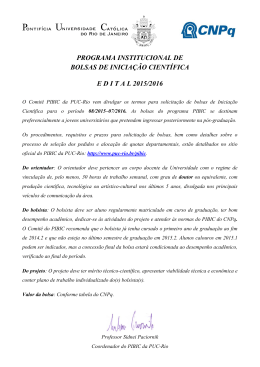 Edital PIBIC 2015/2016 - PUC-Rio