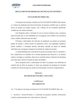 REGULAMENTO DO PROGRAMA DE INICIAÇÃO CIENTÍFICA