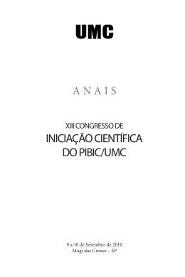INICIAÇÃO CIENTÍFICA DO PIBIC/UMC
