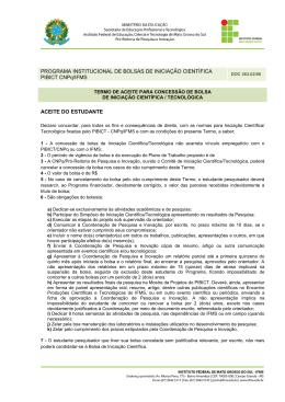 PROGRAMA INSTITUCIONAL DE BOLSAS DE INICIAÇÃO
