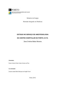 Relatório de Estágio Mestrado Integrado em Medicina ESTÁGIO NO