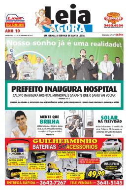 PREFEITO INAUGURA HOSPITAL