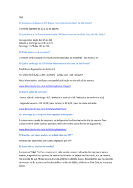 FAQ 1) Quando acontecerá a 23ª Bienal Internacional do Livro de