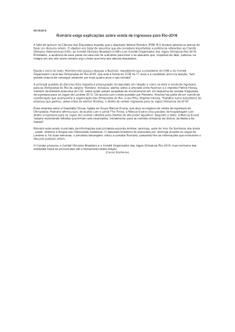 Romário exige explicações sobre venda de ingressos para Rio-2016
