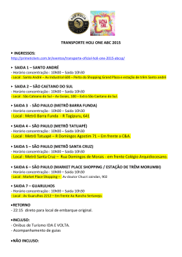 TRANSPORTE HOLI ONE ABC 2015 INGRESSOS