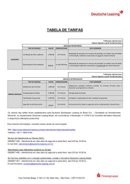 Tabela de Taxas da Deutsche Sparkassen