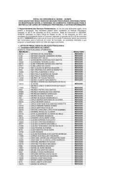 Edital de Concursos N.º 65/2006 - Divulgação dos