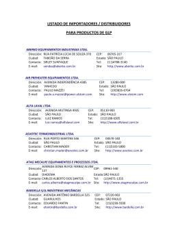 listado de importadores / distribuidores para productos de glp