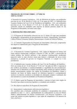 PROGRAMA DE INTERCÂMBIO – 8ª EDIÇÃO