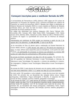 Começam inscrições para o vestibular Seriado da UPE