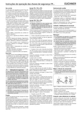 Instruções de operação das chaves de segurança TP