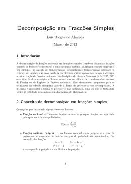 Decomposição em Fracções Simples