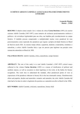 O CRÍTICO ADOLFO CAMINHA E AS BATALHAS PELO - PUC-SP