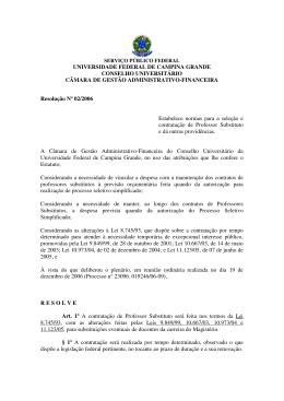 Resolução Nº 02/2006 - Universidade Federal de Campina Grande