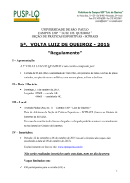 """5ª. VOLTA LUIZ DE QUEIROZ - 2015 """"Regulamento"""""""