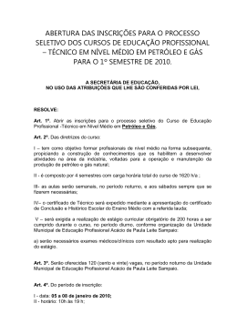 abertura das inscrições para o processo seletivo dos - sintec-sp