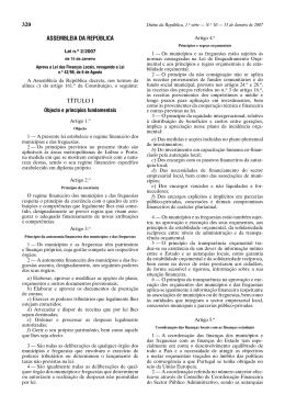 Lei n.º 2/2007 – Lei das Finanças Locais
