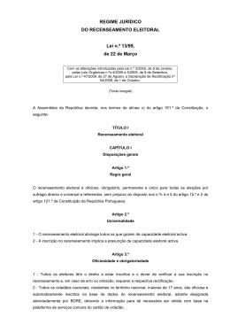 Lei do Recenseamento Eleitoral - Comissão Nacional de Eleições