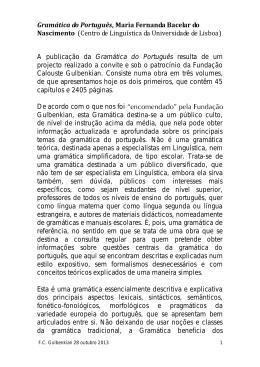 Gramática do Português, Maria Fernanda Bacelar do Nascimento