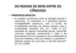 DO REGIME DE BENS ENTRE OS CÔNJUGES