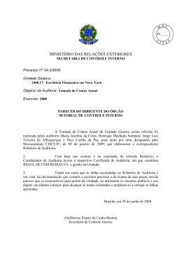 Parecer - Ministério das Relações Exteriores