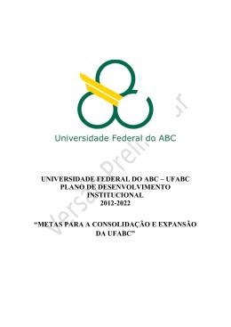 UNIVERSIDADE FEDERAL DO ABC – UFABC PLANO DE