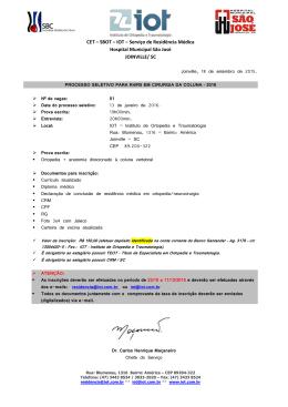 IOT – Serviço de Residência Médica Hospital Municipal São José