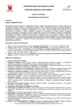 processo seletivo público 01/2005 hospital municipal são camilo