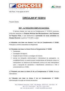 CIRCULAR Nº 10-2014 - Alterações Simples Nacional