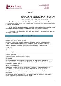 PARECER ANÁLISE DA LEI COMPLEMENTAR n.º 147/2014, QUE