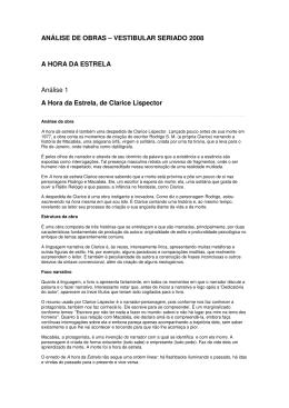 ANÁLISE DE OBRAS – VESTIBULAR SERIADO 2008 A HORA DA