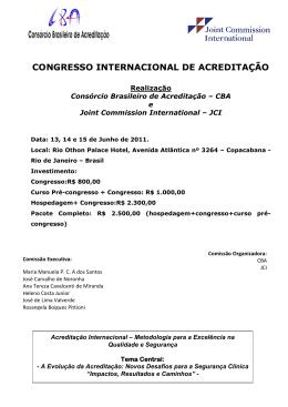 congresso internacional de acreditação