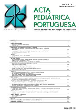 Acta Ped Vol 38 N 4 - Sociedade Portuguesa de Pediatria