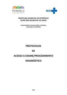 protocolos de acesso a exame/procedimento diagnóstico