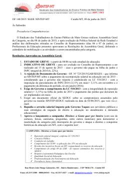 OF 148/2015/ SGER /SINTEP-MT Cuiabá MT, 09 de junho de 2015
