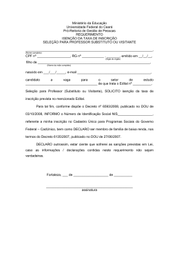 Requerimento de solicitação de isenção da taxa de inscrição