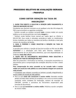 Informações sobre a Isenção da Taxa de Inscrição
