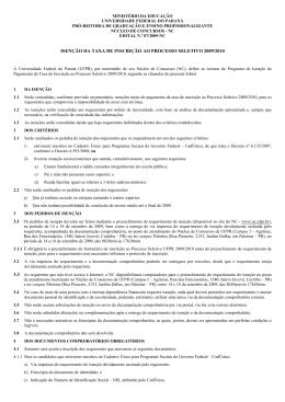 ISENÇÃO DA TAXA DE INSCRIÇÃO AO PROCESSO - NC