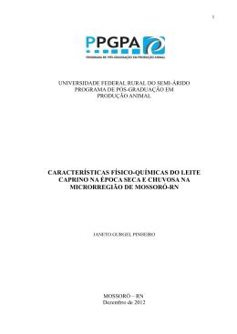 características físico-químicas do leite caprino na época seca e