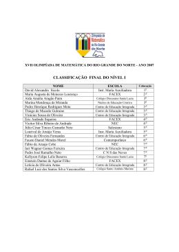 Fase Final - Todos os níveis - Olimpíadas de Matemática do Rio
