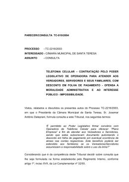PARECER TC Nº 128/96. - TCE-ES