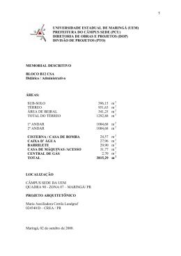 Bloco B12 CSA - UEM - PAD - Universidade Estadual de Maringá