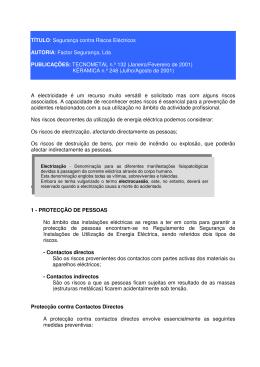 TÍTULO: Segurança contra Riscos Eléctricos AUTORIA: Factor