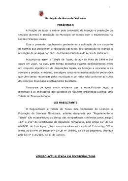 1 Município de Arcos de Valdevez PREÂMBULO A fixação de taxas